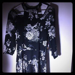 BEBOP -3/4 Sleeve, Cold Shoulder Floral Mini Dress